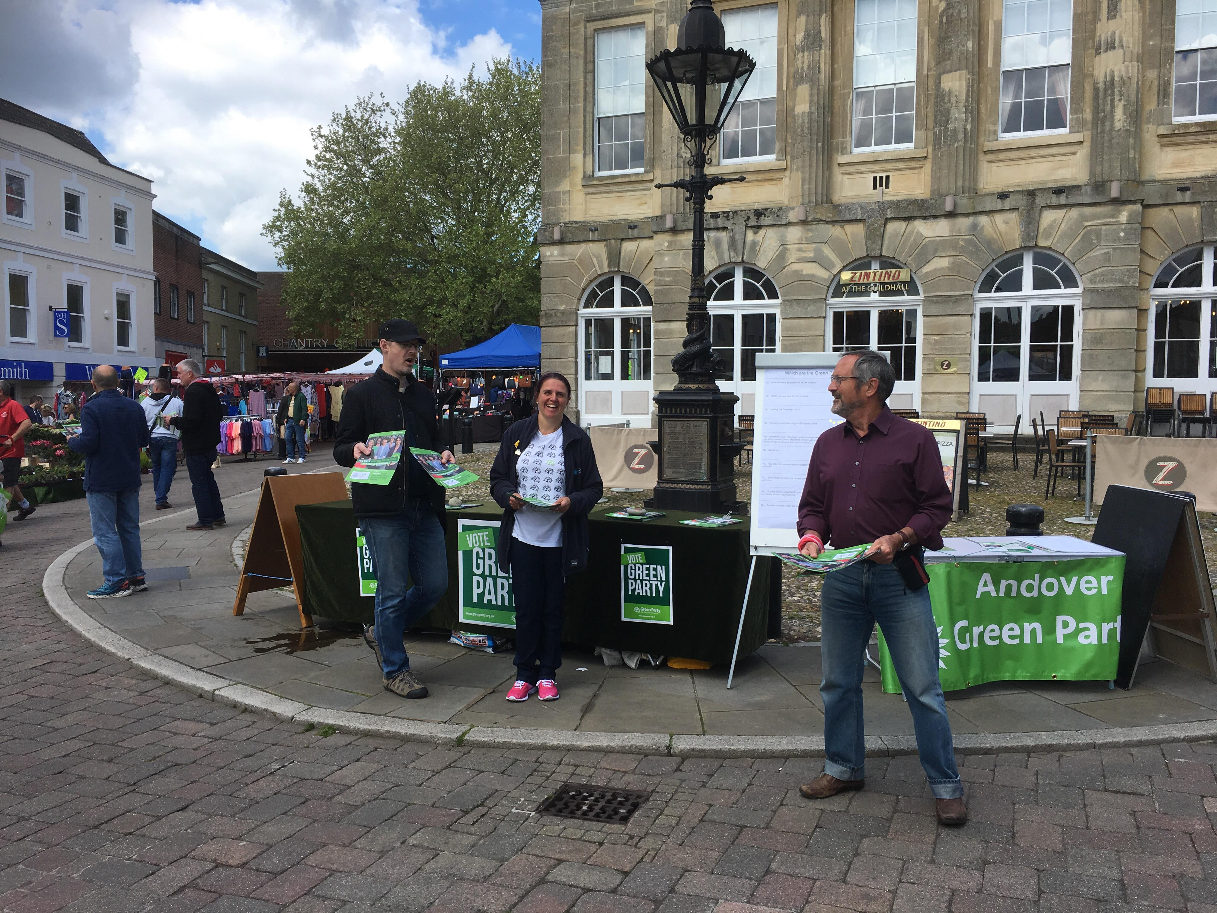 EU election stall outside Andover Guildhall May 2019